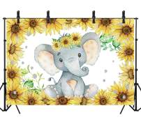 Sensfun 8x6ft Elephant Baby Shower Backdrop Party Decoration Sunflower Backdrop for Girl Newborn First Birthday Party Banner Cake Table Decorations Photography Background