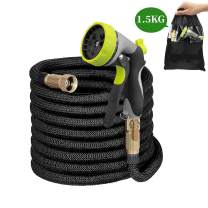 O BOSSTOP 50ft Garden Hose Double Latex Core Expandable Water Hose Extra Strength Fabric,3/4'' Solid Brass Fittings with Metal 8 Function Spray Nozzle