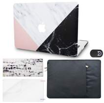 "KECC Laptop Case for Old MacBook Pro 13"" Retina (2015-) w/Keyboard Cover + Sleeve + Screen Protector + Webcam Cover (5 in 1 Bundle) Plastic Hard Shell Case A1502/A1425 (White Marble Pink Black)"
