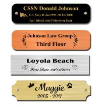 """0.75"""" H x 3"""" W, Brass Nameplates, Metal Plate, Personalized, Custom Engraved Tag, Name Plaque, Square Rounded or Notched Corners, Made in USA (0.75"""" x 3"""")"""