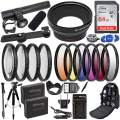 Ultimaxx 58MM Accessory Kit for Canon EOS Rebel T7, T6, T5, T3, T100, 4000D, 3000D, 2000D, 1500D, 1300D, 1200D 1100D, and More; Includes: 2X LP-E10 Batteries, Filter Kits, Backpack & More