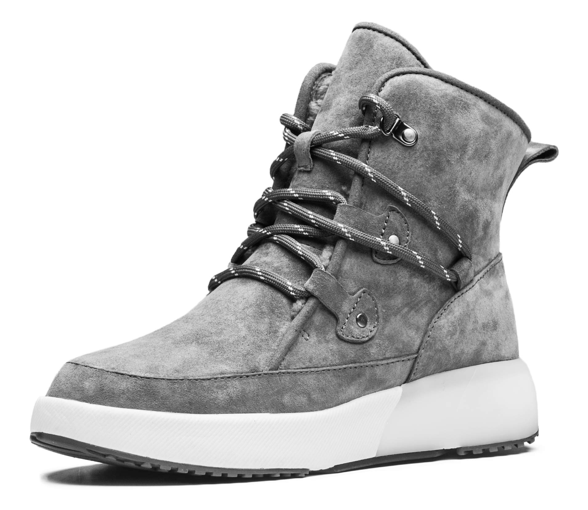 AU&MU Aumu Taurus Leather Metal Buckle Brass Eyelets Suede Upper Laces Winter Snow Boots