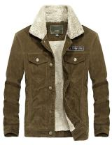 Yeokou Men's Vintage Slim Sherpa Lined Shearling Corduroy Trucker Jacket (Large, Coffee)