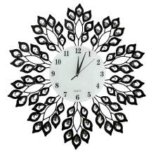 """LuLu Décor, 25"""" Black Leaf Metal Wall Clock, 9"""" White Glass Dial with Arabic Numerals, Decorative Clock for Living Room, Bedroom, Office Space"""