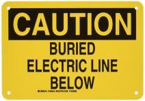 "Brady 126943 Electrical Hazard Sign, Legend""Buried Electric Line Below"", 7"" Height, 10"" Width, Black on Yellow"