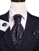 Barry.Wang Men Ascot Cravat Tie with Pocket Square Paisley Jacquard Silk Woven Floral Necktie