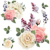 SylkyClover Flower Wall Decals - Rose Flower Decals for Wall, Peel and Stick Decals, Removable Wall Decals (26.75 x 16.5 inches) - Perfect for Home Flowers Wall Decor (Coral)