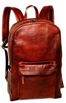 "jaald 18"" Brown Leather Backpack Vintage Rucksack Laptop Bag Water Resistant Casual Daypack College Bookbag Comfortable Lightweight Travel Backpack Hiking/Picnic Bag for Men"