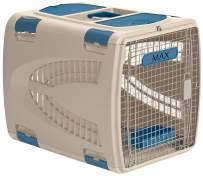 Suncast Deluxe Pet Carrier with Handle - Durable Airline Approved Pet Carrier for Dogs and Cats - Ideal for Air and Car Travel - Taupe and Blue