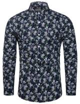 TUNEVUSE Mens Flower Shirt Casual Printed Shirt Cotton Long Sleeve Button Down Floral Dress Shirts