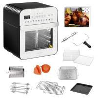 GoWISE USA GW44804 Air Fryer Toaster Oven with Rotisserie + Dehydrator and 11 Accessories + 50 Recipes, Ultra (Silver/Black), 12.7 quart