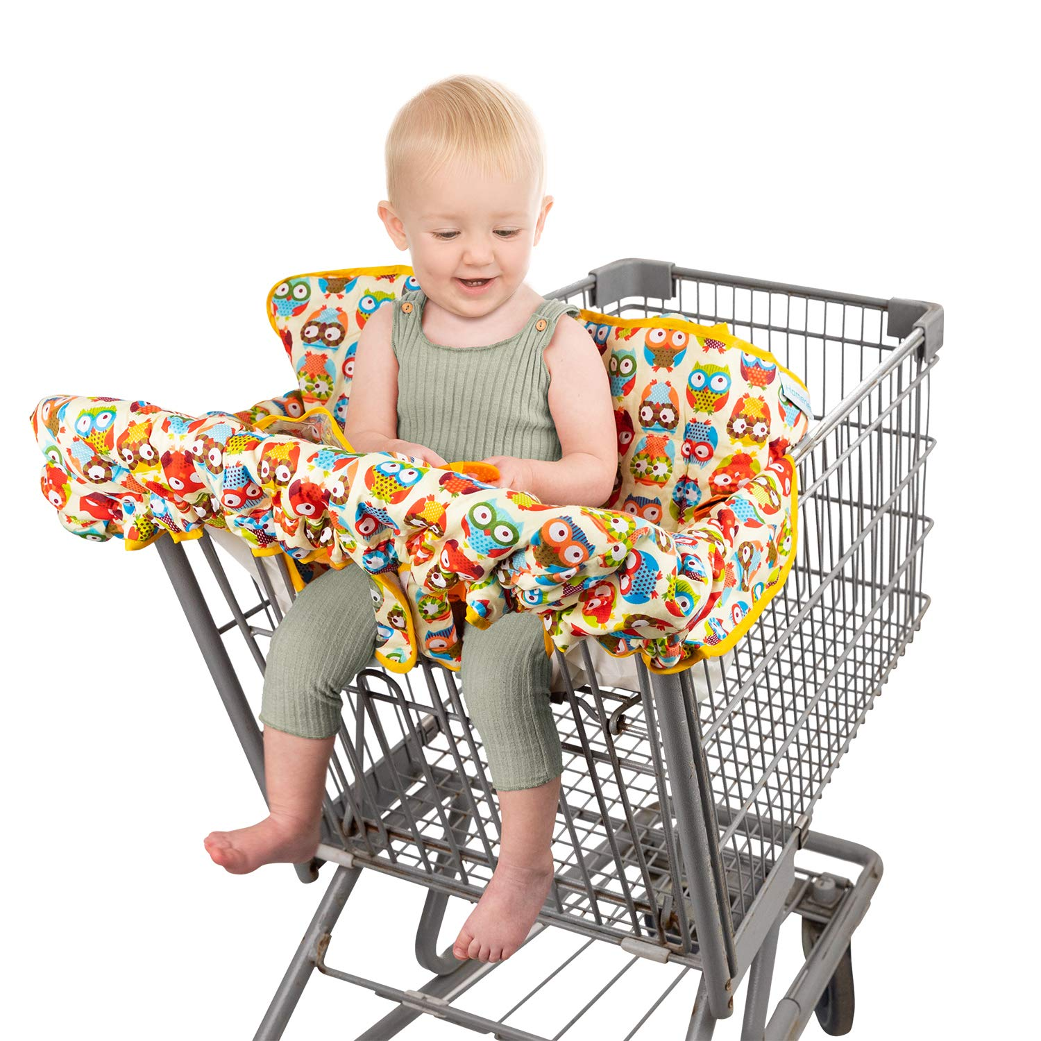 Homeries Shopping Cart Cover for Babies & Toddlers - High Chair Seat Cover for Restaurants & Homes - with 2 Toys Attached - for Boys & Girls