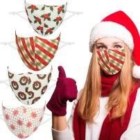 DECOMEN 4 PCS Christmas Adults Face Mask Reusable and Washable Proof, Multiple Pattern Face Cover Protection with Elastic Earloop for Men Women Outdoor Party