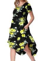 levaca Women's Pockets High Low Pleated Loose Swing Casual Midi Dress