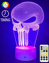 Lmeison Night Light for Kids, 3D Nightlight Illusion Lamp LED Desk Table Lamp with Remote Control, 9 LED 16 Colors Change, Best Christmas Halloween Birthday Gift for Child Baby Boys, Punisher