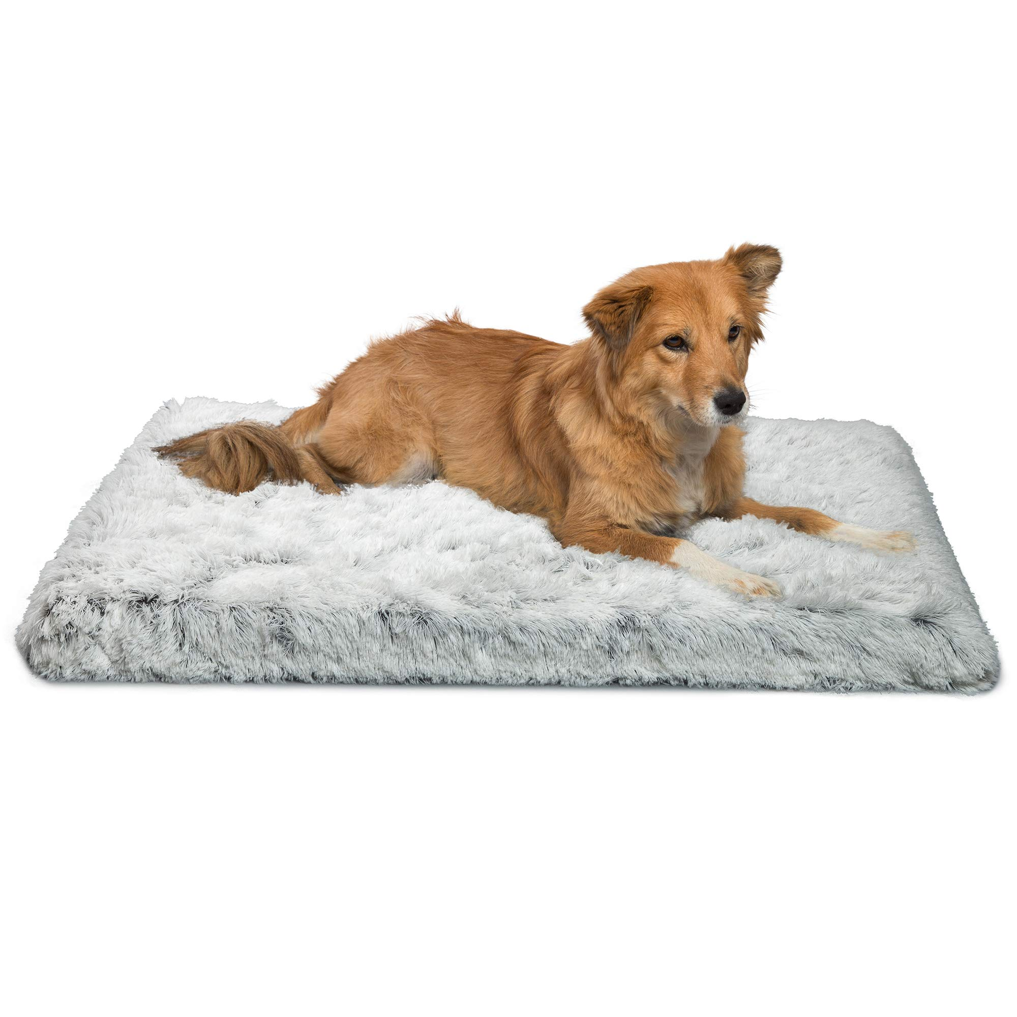 Best Friends by Sheri Orthopedic Dog Bed - Vegan Faux Fur Cushion Supports Joints, Soothes Your Pet, Improves Sleep - Self-Warming w/Zippered Cover, Machine Washable - 27x36 in Frost