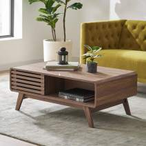 Mopio Ensley Coffee Table Mid-Century Modern Low Profile Dual Side with Sleek Rounded Finishing