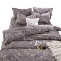 BuLuTu Space Constellation Duvet Cover Set,1 Queen Duvet Cover and 2 Pillow Cases,Reversible 3 PCS 100% Cotton Bedding Sets for Kids Teens Adults with Zipper Closure,Grey,Full/Queen Size,No Comforter