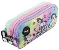 FRINGOO 3 Compartment Pencil Case for Kids School Stationery Holder Funny Cute (Unicorns & Homework - 3 Compartments)