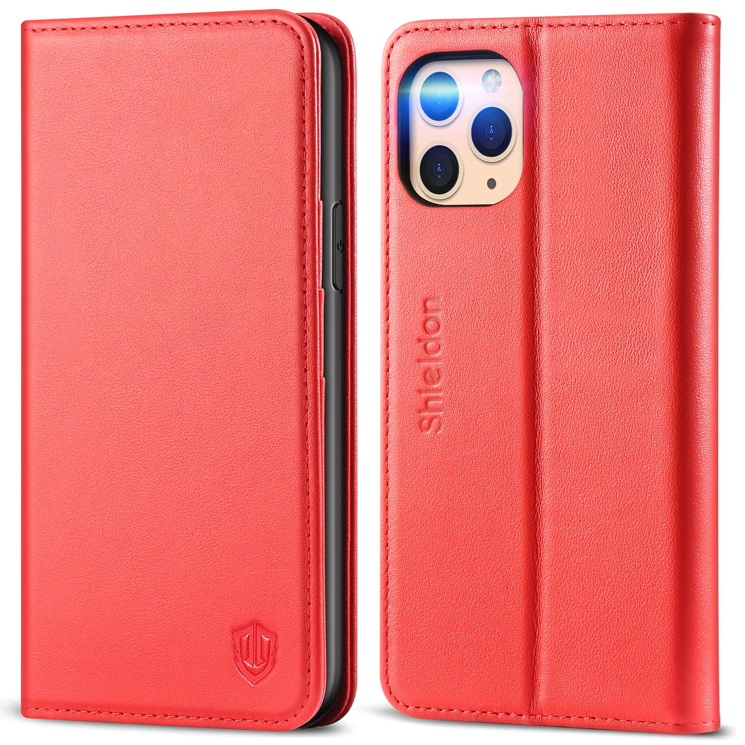 SHIELDON iPhone 11 Pro Case, iPhone 11 Pro Wallet Auto Sleep Wake Case Genuine Leather Folio Case with Kickstand RFID Card Slot, TPU Shockproof Cover Compatible with iPhone 11 Pro (5.8 Inch) - Red