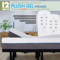 """Split King Adjustable Bed Frame with Wireless Remotes, Head Up Foot Up and 12"""" Cool Gel Infused Premium Plush 6 Layer Memory Foam Mattress"""