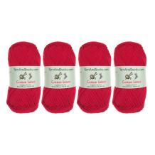 Cotton Select Sport Weight Yarn - 100% Fine Cotton - 4 Skeins - Col 402 - Cardinal Red