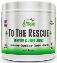 Joint Supplement for Dogs with Hemp Oil – Glucosamine, Chondroitin, Turmeric, Hip and Joint for Dogs, Arthritis Pain Relief & Improved Mobility - 120 Chicken Soft Chews +to The Rescue+