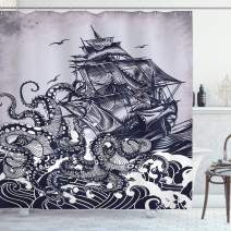 """Ambesonne Nautical Shower Curtain, Kraken Octopus Tentacles with Ship Sail Boat in Ocean Waves, Cloth Fabric Bathroom Decor Set with Hooks, 75"""" Long, Blue"""