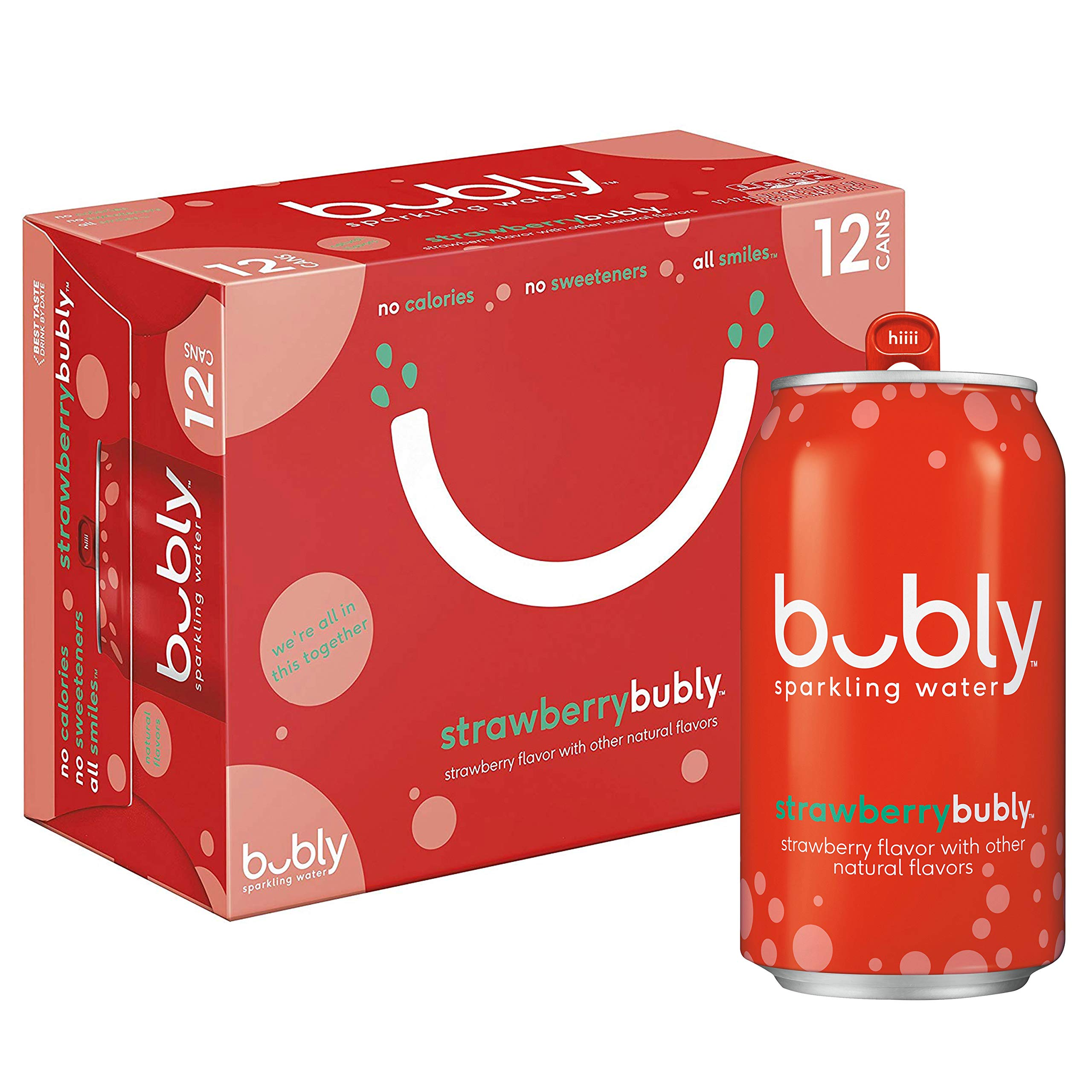 bubly Sparkling Water, Strawberry, 12 fl oz. cans (12 Pack)