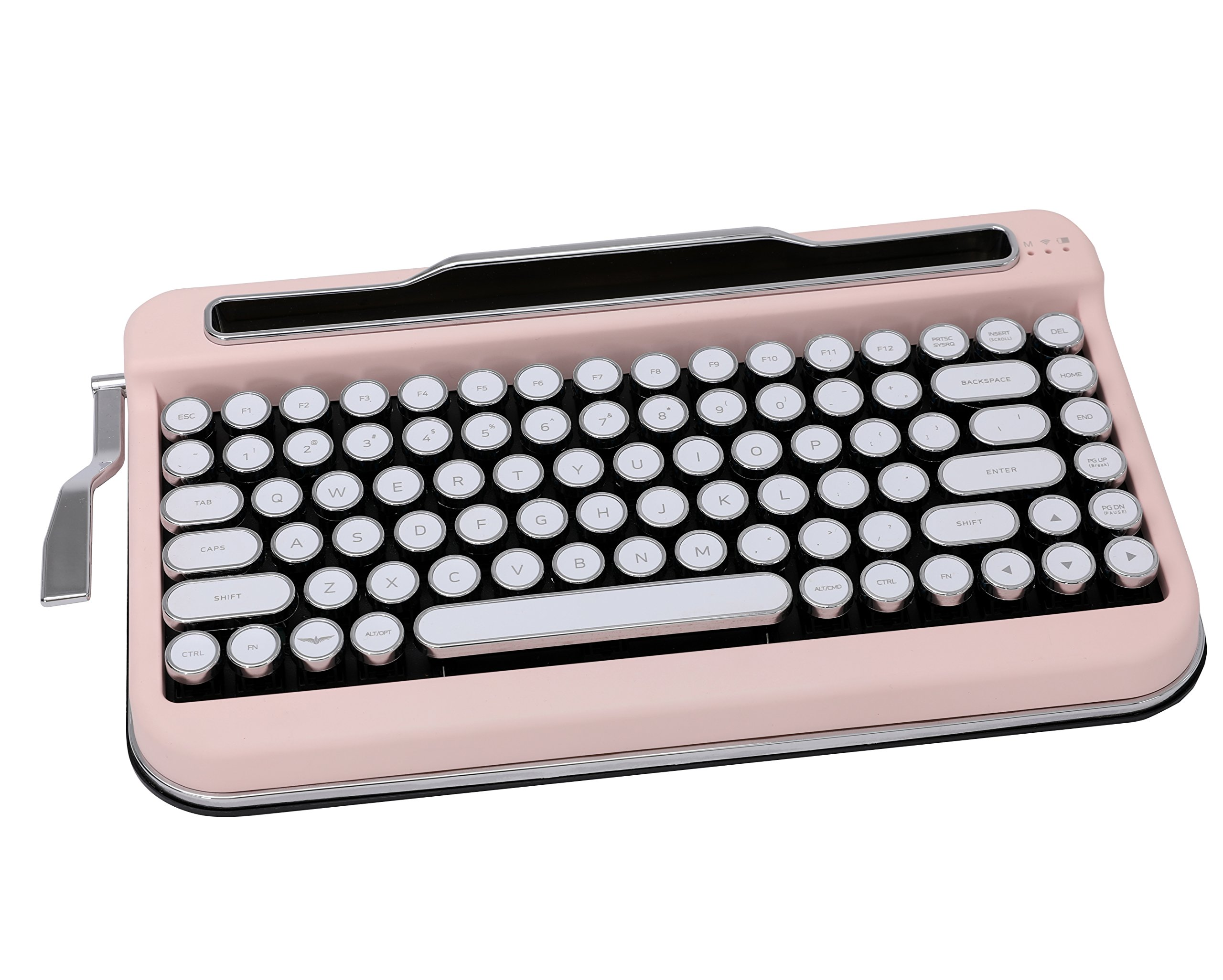 Penna Bluetooth Keyboard with White Chrome Keycap(US Language) (Switch-Cherry Mx Brown, Baby Pink)