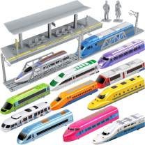 Geyiie Bundle Pull Back Toy Trains for Kids, High Speed City Train Modern Locomotives,Metro Train Toys for Kids Toddle Boys,Extra Platform, Easter Gift