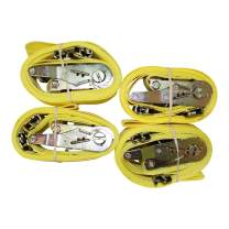 E-Track Cargo Strap - SGT KNOTS - E Track Heavy Duty Adjustable Ratchet Straps - ETrack Lashing Tie Down for Loading Truck Bed, Flatbed, Roof Rack (2 in x 12 ft Strap with Rachet - 4 Pack - Yellow)