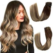 """Blonde Highlighted Human Hair Extensions Brown Roots to Meidum Brown with Honey Blonde Highlights Remy Clip in Hair Extensions for Women 8 Pcs 140G Real Hair Clip in Extensions for Women 18"""""""