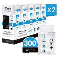 iCloth Lens and Screen Cleaner Pro-Grade Individually Wrapped Wet Wipes, Wipes for Cleaning Small Electronic Devices Like Smartphones and Tablets, Box of 300