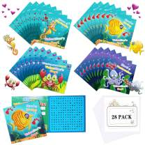 Valentine's Day Cards for Kids, 28 Pieces Valentine Word Search Cards for Sea Life, Valentine's Day Greeting Card for Boy or Girl, Valentine School Classroom Exchange Favor Gift (with 28 Envelopes)