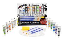 Colorona Acrylic Paint Set 12 Colors with Palette, 3 Paint Brushes & Sponge. Perfect for Canvas, Wood, Rocks, Ceramic, Fabric and Crafts. Non Toxic Vibrant Colors with Rich Quality Pigments