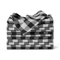 VEEYOO Polyester Checkered Cloth Napkins Set of 12 Pieces Buffalo Plaid Napkins Hemmed Edges Washable Gingham Oversized Dinner Napkins Stain Resistant Table Napkins (20x20 inch, White & Black Napkins)