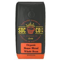 San Diego Coffee Organic House Blend Medium Roast, Whole Bean, 16-Ounce Bag