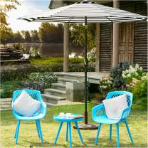 Kamots Beauty 3 Piece Outdoor Furniture Set Chairs Modern Patio Furniture Sets Plastic Blue Chairs and Table Set Balcony Furniture Indoor Outdoor Seating Chairs Conversation Set Bistro Set for Garden