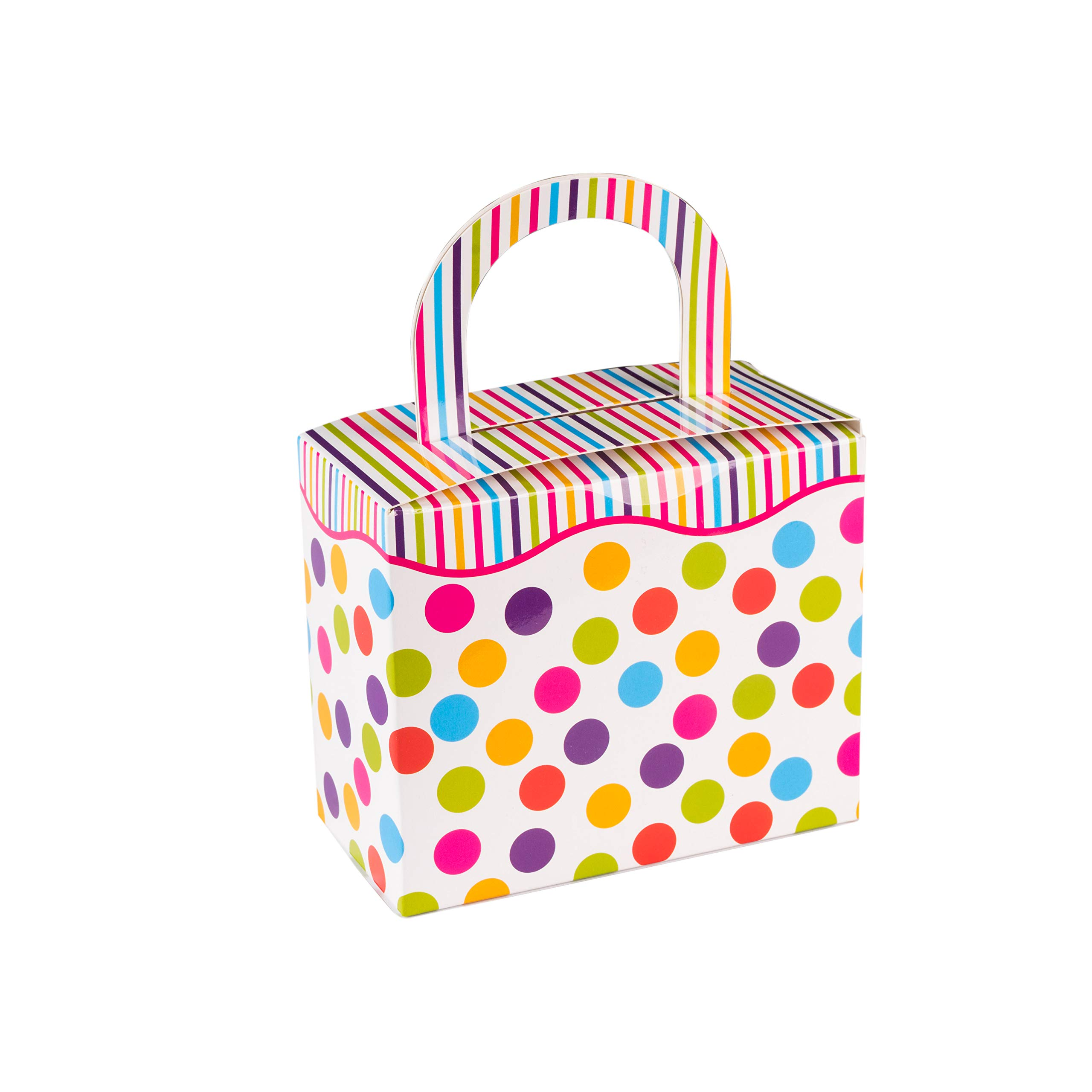 "Hammont Polka Dot Candy Boxes - Colorful Party Favor Treat Boxes with Sturdy Handle – Perfect for Wedding Favors, Parties and Celebrations | 4.5"" x 3.75"" x 2.25"" (18 Pack)"