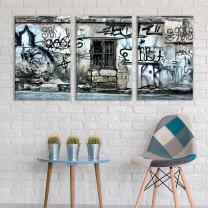 "wall26 - 3 Panel Canvas Wall Art - Triptych Street Graffiti Series - Abandoned Window - Giclee Print Gallery Wrap Modern Home Decor Ready to Hang - 16""x24"" x 3 Panels"