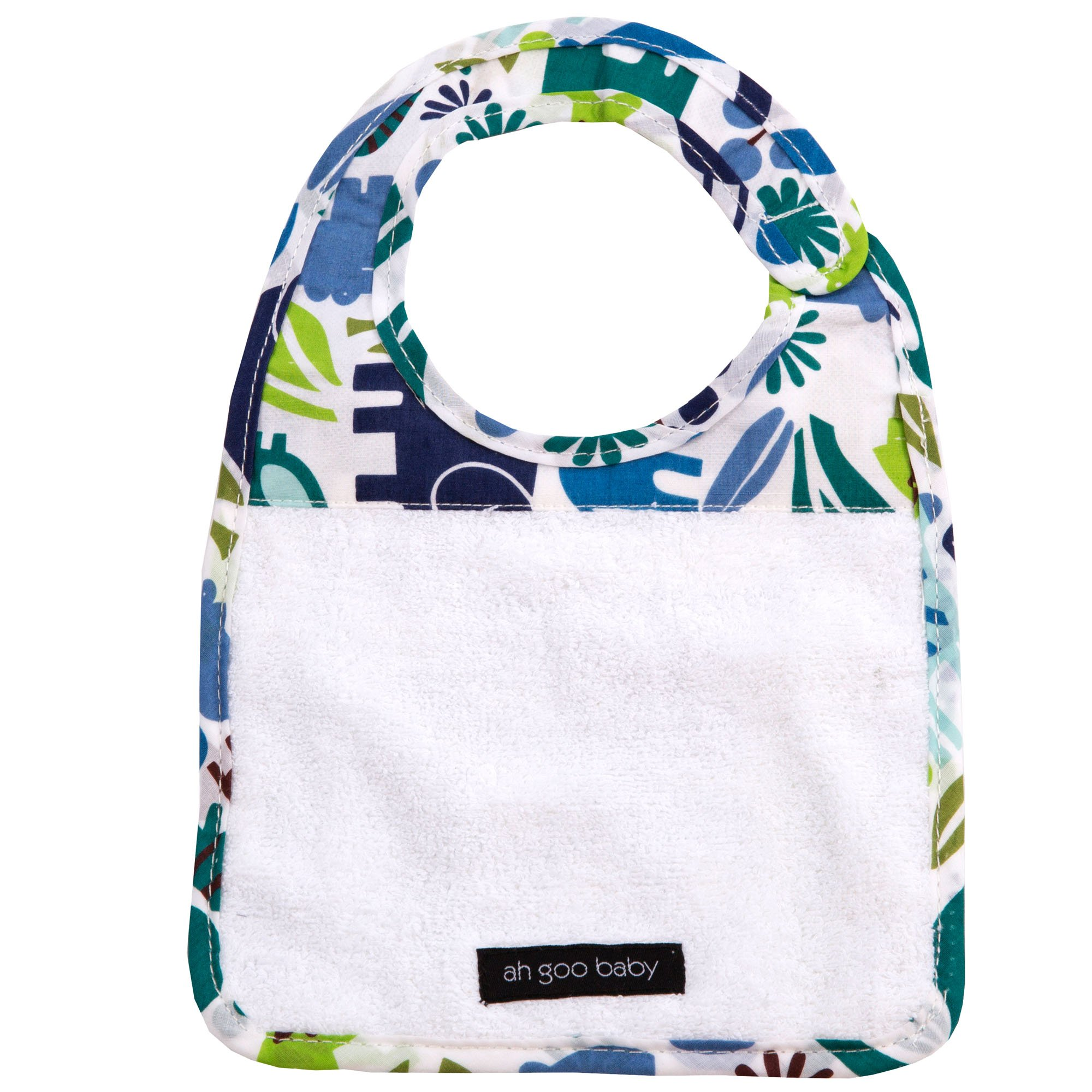Ah Goo Baby Bib, 100% Cotton Terry Cloth, Wrap Around Collar, Zoo Frenzy Pattern