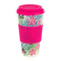 Cambridge CM05972 Bamboo Tropical Forest Reusable Coffee Cup Travel Mug