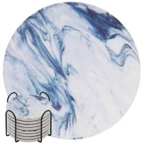 Absorbent Drink Coasters, GOH DODD 8 Pieces Ceramic Mats Table Centerpieces Home Decor With Cork Backing and Holder Stand for Home Office, Blue Marble Surface Pattern