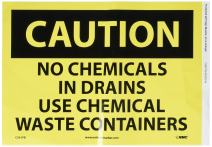 "NMC C561PB OSHA Sign, Legend ""CAUTION - NO CHEMICALS IN DRAINS USE CHEMICAL WASTE CONTAINERS"", 14"" Length x 10"" Height, Pressure Sensitive Vinyl, Black on Yellow"