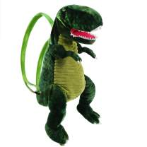 Houswbaby Plush Dinosaur Backpack Preschool Shoulder Bag for Travel and Adventure Stuffed Animal Soft T-rex Plush Toy Birthday Gift for Kids Toddlers Boys Companion Pet, Green, 23''