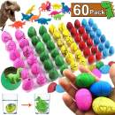 iGeeKid 60 Pack Dinosaur Eggs Toys Grow in Water Pool Dive Toys Science Kits Hatching Egg Crack Novelty Toy Mini Dino Egg with Assorted Color for Toddler Kids 3-10 Boys Girls Birthday Gift Classroom Learning Party Supplies