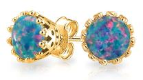Created Opal Crown Solitaire Stud Earrings 14K Gold Plated 925 Sterling Silver October Birthstone Iridescent Colors 6MM
