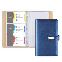 Business Card Holder Book, AHGXG Business Card Book Case PU Leather with Magnets Organization Binder Name ID Card Holder for Men & Women, Up to 200-300 Cards Capacity (150 Cells), Blue Color