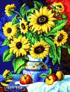 """Various Sunflower Series2 Paint by Numbers for Adults Kids Beginners Easy Acrylic on Canvas 16""""x20""""with Paints and Brushes,Sunflowers in Vase01(Without Frame)"""